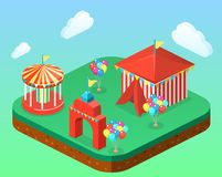Isometric flat 3D  city banners with carousels. amusement park. Isometric flat 3D isolated concept  city banners with carousels. amusement park Stock Image