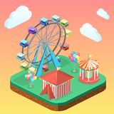 Isometric flat 3D  city banners with carousels. amusement park. Isometric flat 3D isolated concept  city banners with carousels. amusement park Stock Images