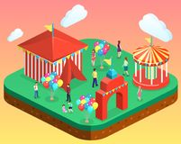 Isometric flat 3D  city banners with carousels. amusement park. Isometric flat 3D isolated concept  city banners with carousels. amusement park Stock Photos