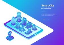 Isometric flat 3D City Map Mobile Navigation vecto. Isometric flat 3D Smart City Map in Mobile Phone Navigation vector illustration concept. Architecture stock illustration