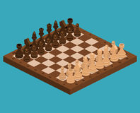 Isometric flat 3D concept chess pieces with board stock illustration