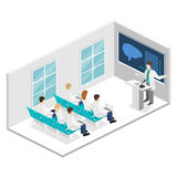 Isometric flat 3D concept  of conference medical doctor clinic research training. Isometry People Image Royalty Free Stock Photo