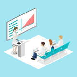 Isometric flat 3D concept  of conference medical doctor clinic research training. Isometry People Image Stock Photography