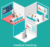 Isometric flat 3D concept  of conference medical. Doctor clinic research training. Isometry People Image Stock Photo