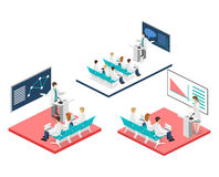 Isometric flat 3D concept  of conference medical. Doctor clinic research training. Isometry People Image Stock Photos