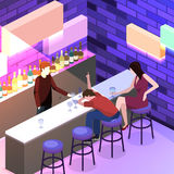 Isometric flat 3D  concept  cutaway Bar in the nightclub. Stock Image