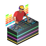 Isometric flat 3D concept  cutaway DJ playing vinyl. DJ Interface workspace mixer console turntables. Night club concept. Royalty Free Stock Photos