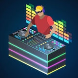 Isometric flat 3D concept  cutaway DJ playing vinyl. DJ Interface workspace mixer console turntables. Night club concept. Royalty Free Stock Photo