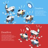 Isometric flat 3D  concept Deadline Concept of overworked man. Time to work Stock Photos