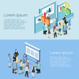 Isometric flat 3D concept  exhibition or promotion stand. Stock Images
