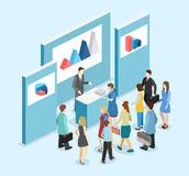 Isometric flat 3D concept  exhibition or promotion stand. Royalty Free Stock Images