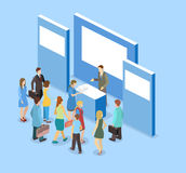 Isometric flat 3D concept  exhibition or promotion stand. Royalty Free Stock Image