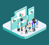Isometric flat 3D concept  exhibition or promotion stand. Royalty Free Stock Photos