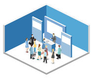 Isometric flat 3D concept  exhibition or promotion stand. Vector exhibition or promotion stand. Trade show booth Royalty Free Stock Photo