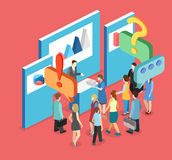 Isometric flat 3D concept  exhibition or promotion stand. Vector exhibition or promotion stand. Trade show booth Royalty Free Stock Image