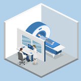 Isometric flat 3D concept  hospital medical mri web illustration. Nuclear magnetic resonance imaging tomography room interior Stock Photography