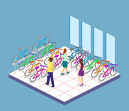 Isometric flat 3D  concept  interior of bicycle shop. Isometric flat 3D  concept  cutaway interior of bicycle shop. People choose a bike Royalty Free Stock Photography