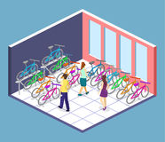 Isometric flat 3D  concept  interior of bicycle shop. Isometric flat 3D  concept  cutaway interior of bicycle shop. People choose a bike Royalty Free Stock Image