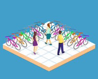 Isometric flat 3D  concept  interior of bicycle shop. Isometric flat 3D  concept  cutaway interior of bicycle shop. People choose a bike Stock Photography