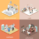 Isometric flat 3D concept  interior cafe, canteen, restaurant kitchen. Stock Photo