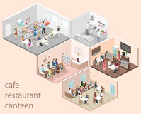 Isometric flat 3D concept  interior cafe, canteen, restaurant kitchen. Royalty Free Stock Images