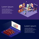 Isometric flat 3D concept  interior of cinema hall,cafe. Royalty Free Stock Image