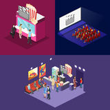 Isometric flat 3D concept  interior of cinema hall. Isometric flat 3D concept  interior of cinema hall,cafe, ticket offoce. people watching a movie Royalty Free Stock Photos
