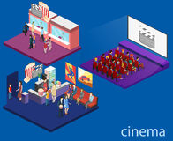 Isometric flat 3D concept  interior of cinema hall. Isometric flat 3D concept  interior of cinema hall,cafe, ticket offoce. people watching a movie Stock Photo