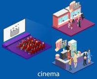 Isometric flat 3D concept  interior of cinema hall. Royalty Free Stock Photos