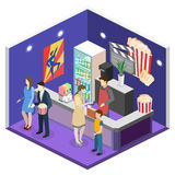 Isometric flat 3D concept  interior of cinema waiting hall. Cinema cafe Stock Photos