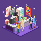 Isometric flat 3D concept  interior of cinema waiting hall. Royalty Free Stock Photo
