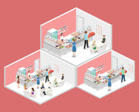 Isometric flat 3D concept  interior of a coffee shop Royalty Free Stock Photos