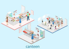 Isometric flat 3D concept  interior of a coffee shop Royalty Free Stock Image