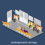 Isometric flat 3D concept  interior of metro subway carriage. Royalty Free Stock Photo