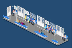 Isometric flat 3D concept  interior of metro subway carriage. Stock Images