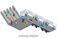 Isometric flat 3D concept  interior of metro subway carriage. Royalty Free Stock Images
