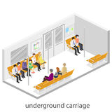 Isometric flat 3D concept  interior of metro subway carriage. Stock Photography