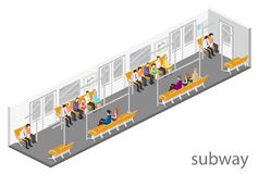 Isometric flat 3D concept  interior of metro subway carriage. Isometric flat 3D concept  interior of metro subway train carriage. underground station Stock Photos