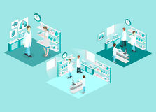 Isometric flat 3D concept  interior of science laboratory. Stock Images