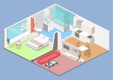 Isometric flat 3D concept  interior of studio apartments Stock Image