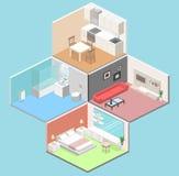 Isometric flat 3D concept  interior of studio apartments Royalty Free Stock Photos