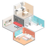 Isometric flat 3D concept  interior of studio apartments Royalty Free Stock Photography