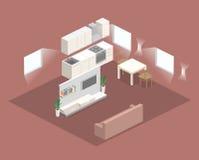 Isometric flat 3D concept  interior of studio apartments. Stock Photos