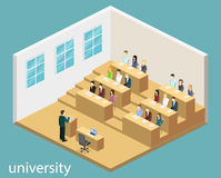 Isometric flat 3D concept  interior university auditorium. Students sitting at desks and listening to the teacher. education training Stock Image