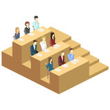 Isometric flat 3D concept  interior university auditorium. Students sitting at desks and listening to the teacher. education training Stock Photos