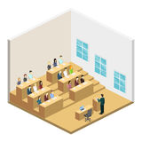 Isometric flat 3D concept  interior university auditorium. Students sitting at desks and listening to the teacher. education training Royalty Free Stock Photo