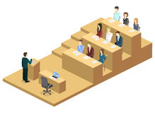 Isometric flat 3D concept  interior university auditorium. Students sitting at desks and listening to the teacher. education training Royalty Free Stock Photos