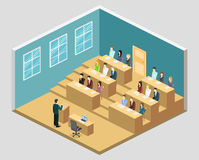 Isometric flat 3D concept  interior university auditorium. Students sitting at desks and listening to the teacher. education training Stock Photo