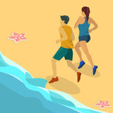Isometric flat 3D  concept people running on the road. A girl and a guy are running a jog Stock Image