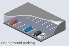 Isometric flat 3D concept  underground parking with cars. Stock Photos